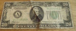 1934 B Andrew Jackson 20 Dollar Bill Federal Note US Currency Small