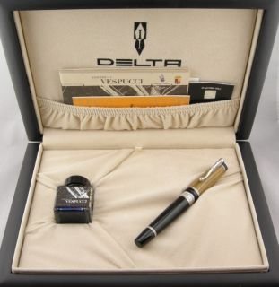 Delta Amerigo Vespucci Black Silver LE Fountain Pen 18kt Medium Nib
