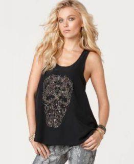 ANDREW CHARLES Beaded Skull Womens Black Blouse Shirt sz M