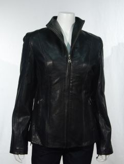 Andrew Marc New York Womens Black Leather Jacket Lambskin Zip Up Small