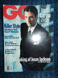 GQ Magazine 1990 December Andy Garcia The Next Godfather Lena Olin