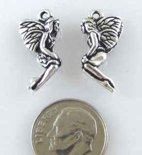 TierraCast Pewter Charms Antique Silver Leaf Fairy 2