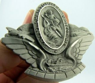 Auto Car Travel Visor Clip Pewter Protection Angel Wings Saint St