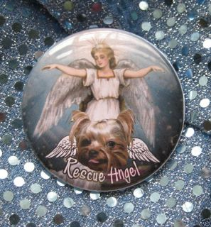Yorkie Rescue Angel Dog Pin Humane Society Badge Button