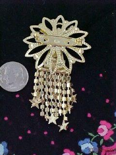 Angel Pin with Dangling Rhinestone Strands Pin Brooch