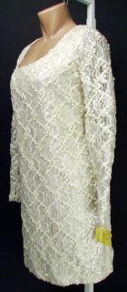 Genuine Andre Van Pier Ivory Lace Cocktail Dress 10