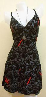 Vintage Skull Rock Rockabilly Black Dresses Print Women Goth New Size