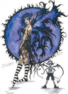 Amy Brown Print Fairy Faery Trouble Punk Goth Attitude Tattoo Purple
