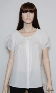 Nwt T Tahari *ANGELA* Stretch Cotton Smocked Peasant Blouse Top Shirt