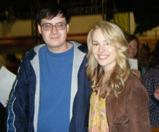 Bridgit Mendler and myself at the Wizards of Waverly Place filming