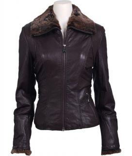 NWT $406 Andrew Marc DARIA Leather Rabbit Trim Coat Brown sz S