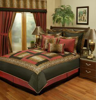 8PC Jungle Animal Print Faux Silk Comforter Set Q K