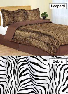 Satin Animal Print Comforter Sets Choose Zebra Print or Leopard Print