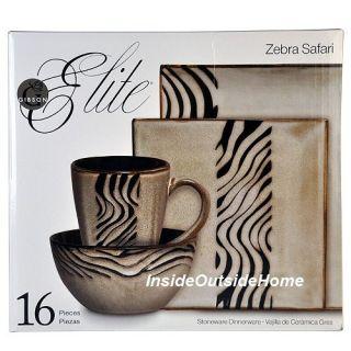 Safari Zebra Animal Print Dinnerware Stoneware 16 PC Set