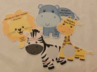 Unique Personalized Jungle Animal Baby Shower Party Favor Scratch Off