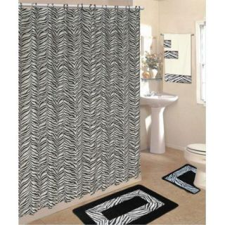 Bath Rug Set Black Zebra Animal Print Rugs Shower Curtain Rings Towels