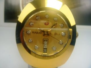 Rado Diastar Day Date Automatic Mens Watch Gold Dial