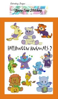 Halloween Animals 2 Machine Embroidery Designs Set Wizard Witch Lion