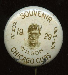 RARE 1929 Hank Wilson Chicago Cubs Baseball World Series Pinback