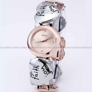 YAQIN Fashion Lady Rose Gold Dial Quartz Gift Alloy Heart Bracelet