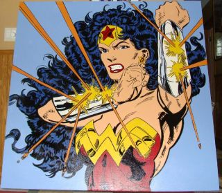 Original Steve Kaufman Wonder Woman Pop Art Painting Andy Warhol 5X5