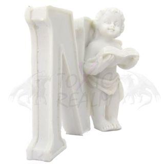 Cherub Angel Small White Wall Decor Cake Topper TR5555 Shelf Sitter
