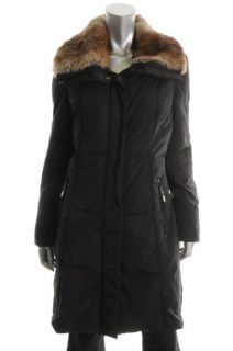 Andrew Marc Black Rabbit Fur Chalet Long Coat L BHFO
