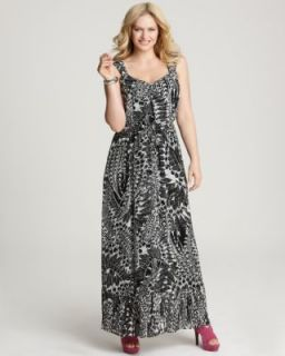 Anna Scholz New Black White Printed Pleated Maxi Cocktail Dress Plus