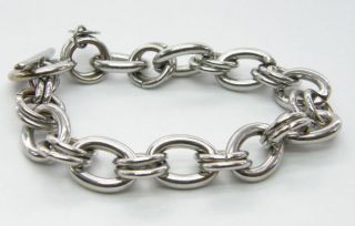 BIG CHUNKY CHAIN LINK T BAR FOB CHARM BRACELET SIGNED FIORELLI
