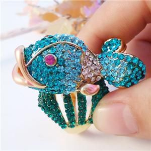Cute Nemo Fish Cartoon Ring Sz 7 Blue Swarovski Crystal
