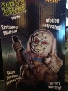 Stabby Zombie Baby Babies Animated Prop Halloween Decoration Teddy