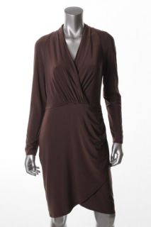 Anne Klein Brown Shirred Faux Wrap Long Sleeve V Neck Wear to Work