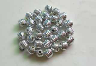 200 Pcs Silver Acrylic Spacer Loose Beads Charms Findings Accessories