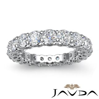 Ring Eternity Band 14k White Gold SZ5 25 Wedding Anniversary