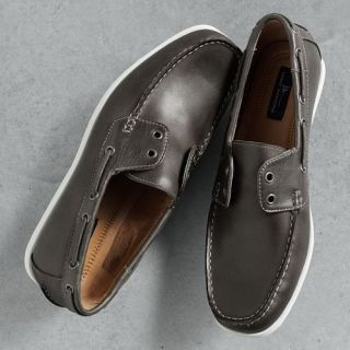 NIB Marc Anthony Mens Gray Leather Boat Shoes 9 M