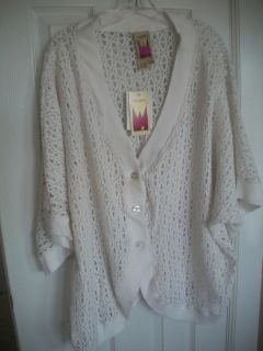 NWT Original Anthony White Crocheted Cotton Cardigan Sweater Sz 3X
