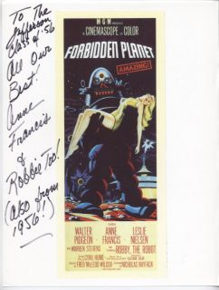 Anne Francis Note PIX 2 Signed Forbidden Planet SF 1960s TV Honey West