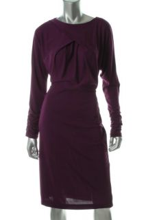 Anne Klein Purple Ruched Long Sleeves Cocktail Evening Dress L BHFO