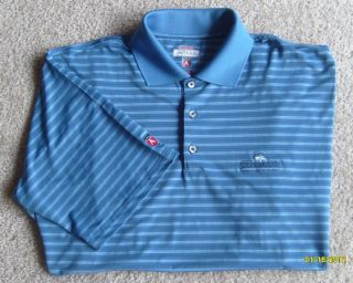 New Mens Size L Antigua Golf Desert Dry Blue Stripe Polo Shirt