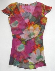 Antik Batik Womens Beaded Sheer Silk Floral Tunic Top s Long Blouse