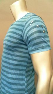 Envae Mens M Cotton Short Sleeve V Neck Knit Shirt Blue Striped Top