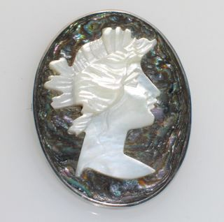 Antique Mother of Pearl Abalone Cameo Sterling Brooch