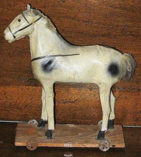 Victorian Antique Hand Painted Made Papier Mache Wood Horse Pull Toy w