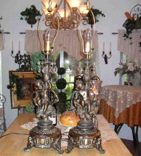Antique Bronze Finish Crystal Prism Cherub Angel Large Table Lamp