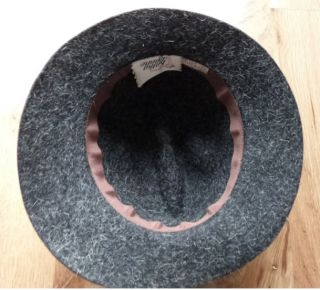 Womens Fedora Hat Wool Felt Angora Sz s 6 7 8 Charcoal Gray