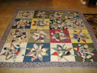 Antique Vintage AMISH QUILT, LANCASTER, PA, 8 Pointed Star pattern, 72