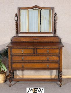 Antique Oak Barley Twist Vanity Chest Dresser w Mirror
