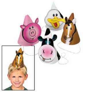 ANIMAL Cone HATS Birthday Barnyard Horse Cow Pig Duck Party Favors