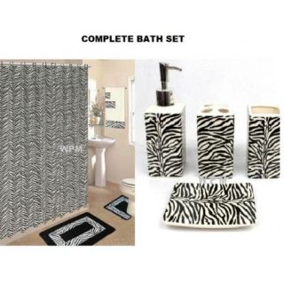 Bath Accessory Set Black Zebra Animal Print Rugs Shower Curtain Towels