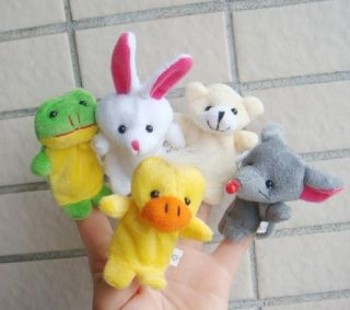 Hot 5X Animal Finger Puppet Baby Toys Plush Toys Soft Puppy Child
